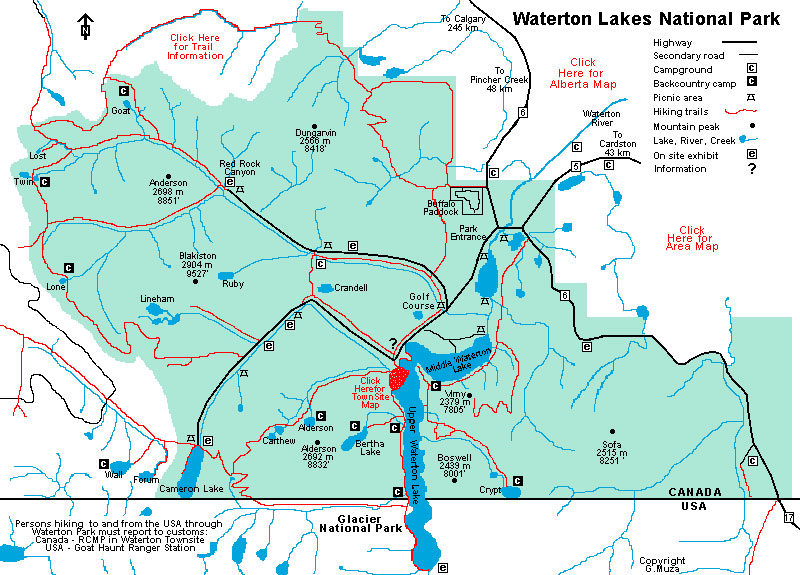Waterton National Park Map - AllTrips on