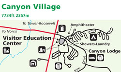 canyon village yellowstone map Yellowstone National Park Map Canyon Alltrips canyon village yellowstone map
