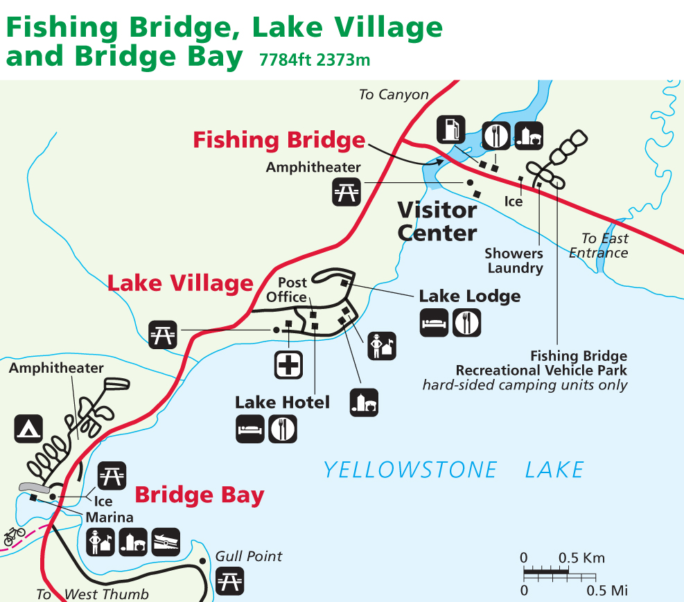 Yellowstone Maps: Lake Village, Fishing Bridge, Bridge Bay ...