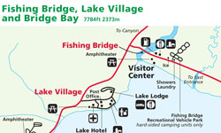 Yellowstone Maps Lake Village Fishing Bridge Bridge Bay