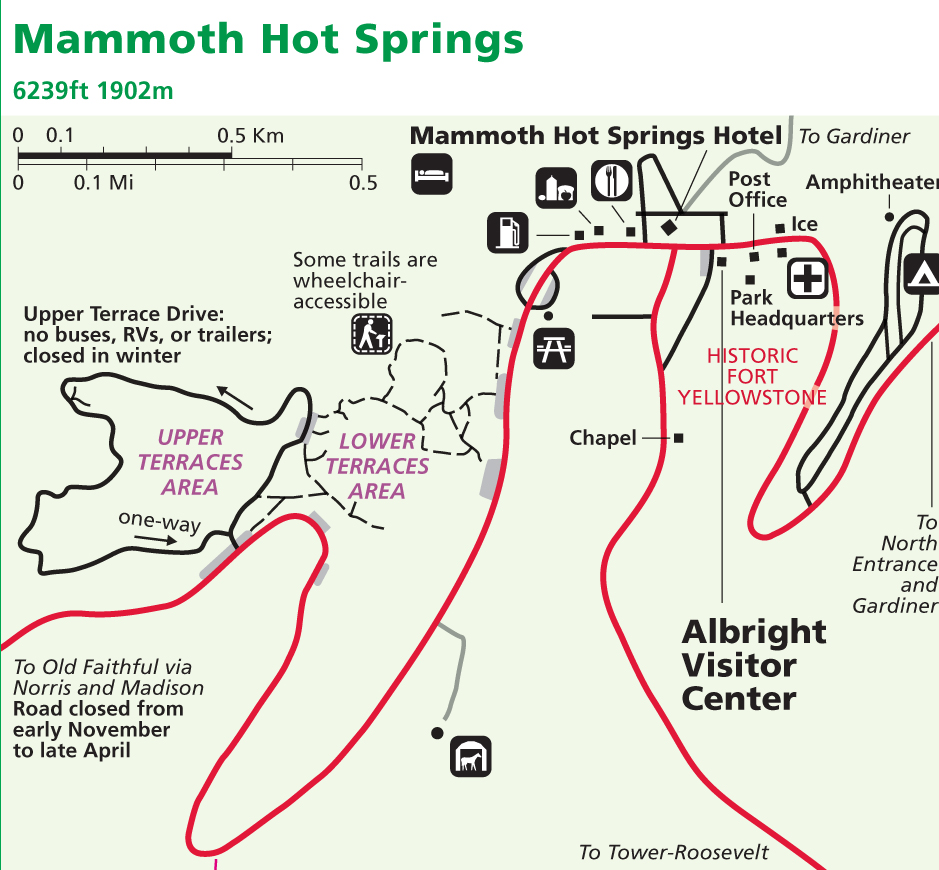 Mammoth Hot Springs Map Alltrips