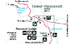 Yellowstone National Park Map Canyon To Tower Alltrips