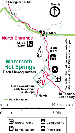 Yellowstone National Park Maps North Entrance To Mammoth