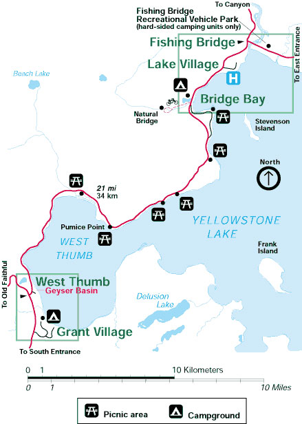 Yellowstone National Park Map Grant To Lake Alltrips