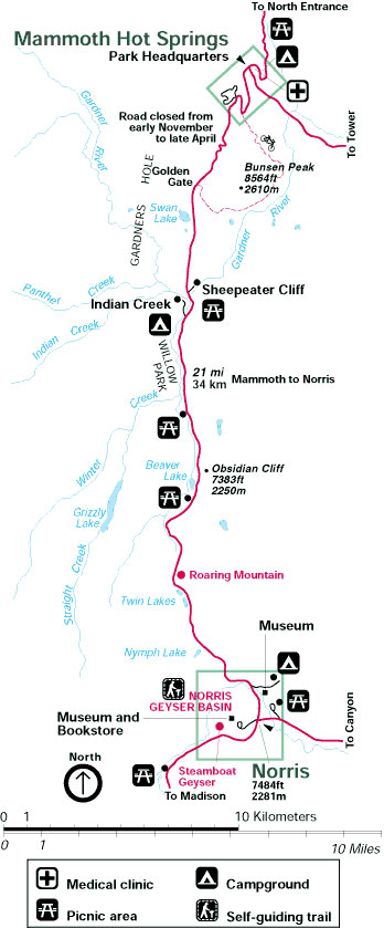 Yellowstone Maps: Mammoth to Norris - AllTrips