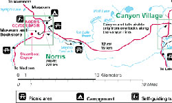 Yellowstone National Park Maps Norris To Canyon Alltrips
