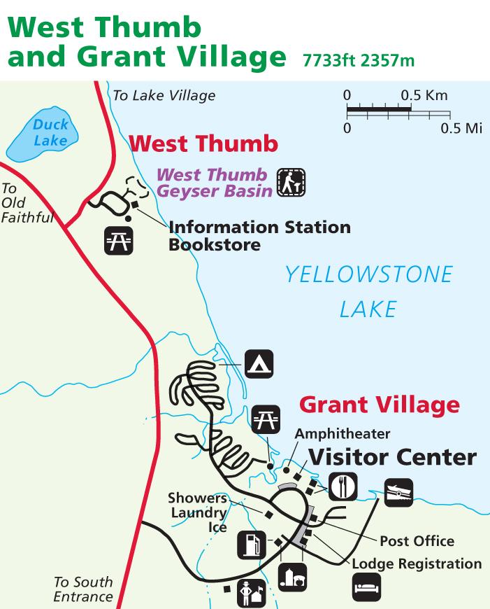 Yellowstone Map: West Thumb & Grant Village   AllTrips